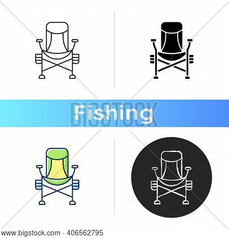 Fishing Lounger Chair Icon. Basic Fishers Equipment. Fishing Tournament. Fishery Tools. Comfortable