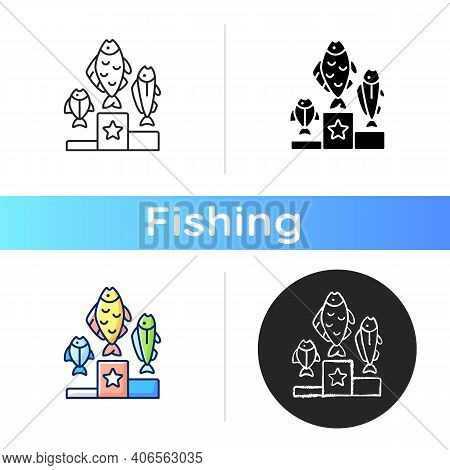 Fishing Tournament Icon. Sport Competition. Fishers Contest. Pedestal With Fish. Trophy Fishing. Fis