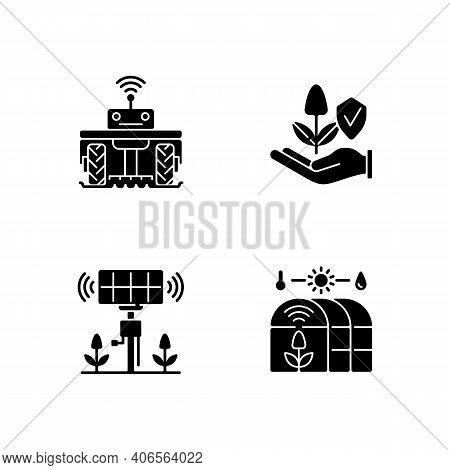 Smart Agriculture Black Glyph Icons Set On White Space. Robotics In Farm. Digital Greenhouse. Innova
