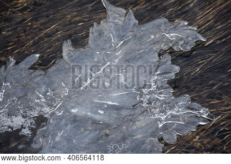 Pattern Of Ice In Natural Streaming Water