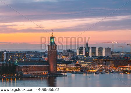 Stockholm, Sweden - June 29, 2019: Scenic Skyline View Of Famous Tower Of Stockholm City Hall And St