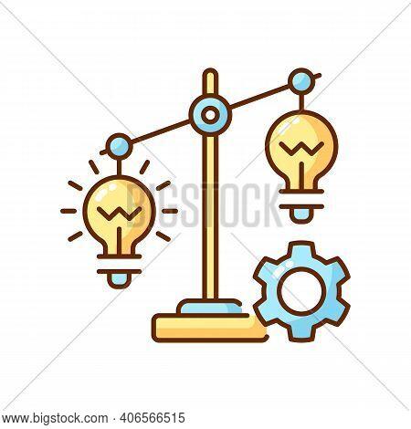 Idea Prioritization Rgb Color Icon. Creative Thinking Idea. Choosing The Right Goals. Creativity Dev