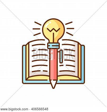 Creative Writing Rgb Color Icon. Improving Writing Skills Idea. Creativity Development. Brainstormin