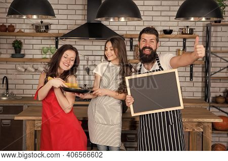 Little Girl With Parents Cooking. Recipe Of Perfect Family Dinner. Mother And Father With Little Gir
