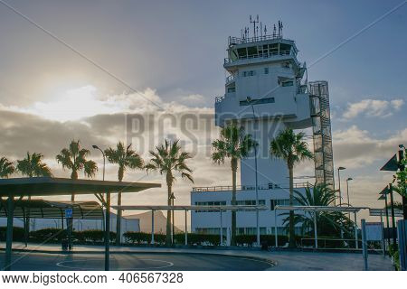 Tenerife South, International Airport, Canary Islands, Spain  - Air Traffic Control Tower Within Sun