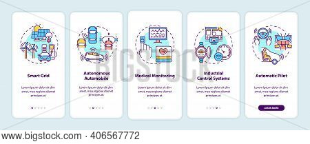 Cyber-physical Systems Application Onboarding Mobile App Page Screen With Concepts. Smart Grid, Med