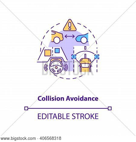 Collision Avoidance Concept Icon. Cyber-physical System Usage Idea Thin Line Illustration. Collision