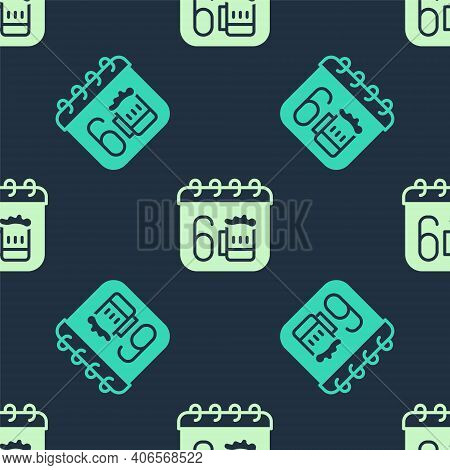 Green And Beige Saint Patricks Day With Calendar Icon Isolated Seamless Pattern On Blue Background.