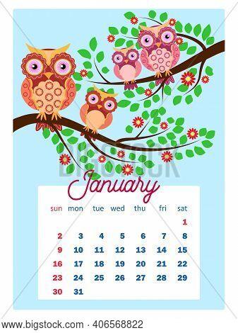 Calendar 2022. Cute Calendar With Funny Cartoon Owls. Cute Owls And Birds For Every Month. Wall Vert