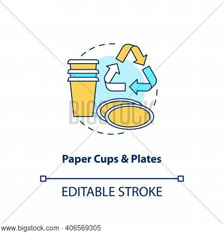 Paper Cups And Plates Concept Icon. Food-spoiled Paper Waste Idea Thin Line Illustration. Disposable