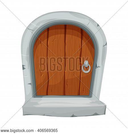 Wood Fairy Mediaeval Door In Cartoon Style Isolated On White Background. Fantasy Entrance, Locked Wi