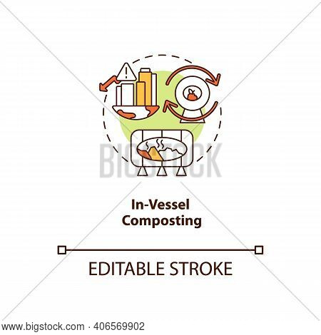 In-vessel Composting Concept Icon. Composting Method Idea Thin Line Illustration. Treating Food And