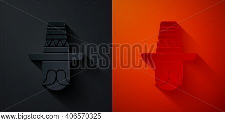 Paper Cut Mexican Man Wearing Sombrero Icon Isolated On Black And Red Background. Hispanic Man With