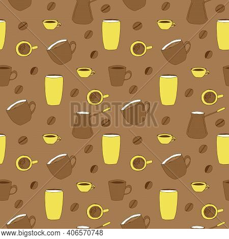 Coffee Seamless Pattern Cups Mug Paper Cup Coffee Pot And Coffee Beans Vector Doodle Illustration Ye