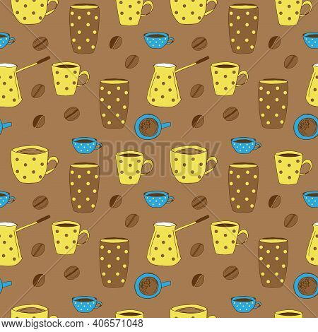 Coffee Seamless Pattern Cups Mug Paper Cup Coffee Pot And Coffee Beans Vector Illustration Hand Draw