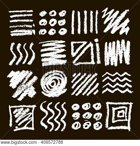 Chalk Graphic Elements Collection Arrows, Frames, Rectangle, Oval And Round Shapes. Chalk Forms On B