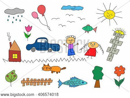 Happy Children Doodle. Set Of Hand Drawn Cute Doodles. Doodle Children Drawing. Collection Of Elemen
