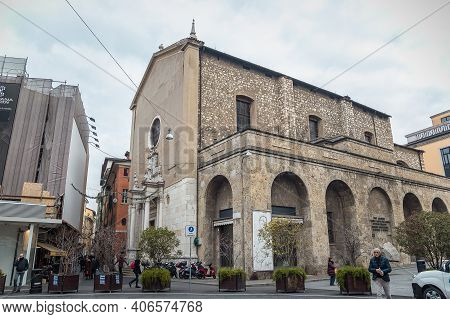 Brescia, Italy - December, 2015: Old Medieval Cathedral Of Santagata. Santagata Is A 15th-century, R