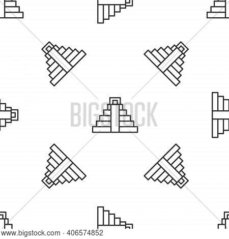 Grey Line Chichen Itza In Mayan Icon Isolated Seamless Pattern On White Background. Ancient Mayan Py
