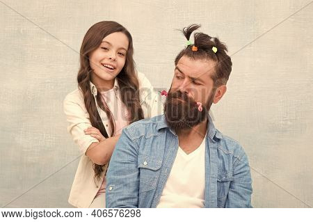 Daughter Playing With Hair. Ideas To Entertain Kids During Quarantine. Family Leisure Concept. Girl