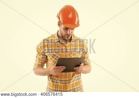 Foreman With Documents. Supplies Dealer. Project Curator. Counting Finances For Renovation. Man Wear