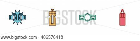 Set Punch In Boxing Gloves, Fitness Shaker, Boxing Belt And Punching Bag Icon. Vector