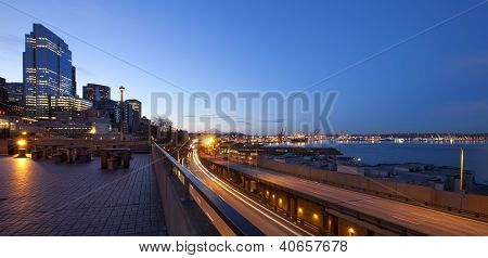 Seattle Downtown, Pike Market At Early Morning Before Sunrise.