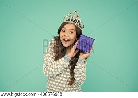 Gifts Shop. Shopping Day. Birthday Surprise. Excited Child. Cute Smiling Little Girl With Gift Box.