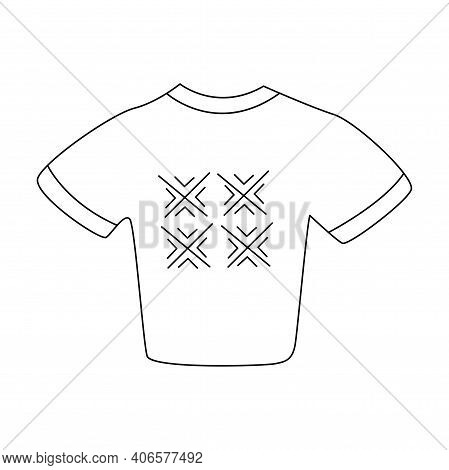 Cropped T-shirt With Abstract Geometric Print. Scandinavian Print. Black And White Vector Isolated I