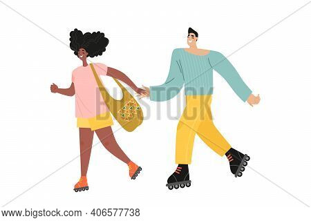 Young Couple Is Rollerblading. Isolated Illustration In Cartoon Style