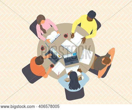Group Of Diverse Students Are Sitting At The Table And Studying. Top View. Flat Cartoon Vector Illus
