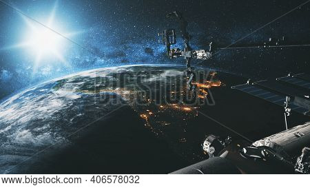 International Space Station Earth satellite with bright sun at cosmos over planet of Solar system in spatial explore mission. Stars and Milky Way at background. 3d animation of science NASA technology