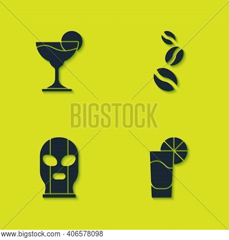 Set Margarita Cocktail, Tequila Glass With Lemon, Mexican Wrestler And Coffee Beans Icon. Vector