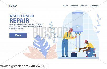 Diverse Plumbers Repairing Or Installing Water Heater Or Boiler. Home Repair, Maintenance And Plumbi