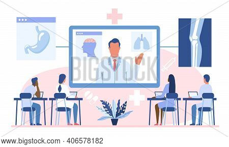 Online Webinar Or Medical Courses Concept. Doctor Teaching Diverse Multiracial Academic Students Or