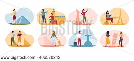 Traveling People Visiting Famous Landmarks And Attractions. Collection Of Tourists Going Sightseeing