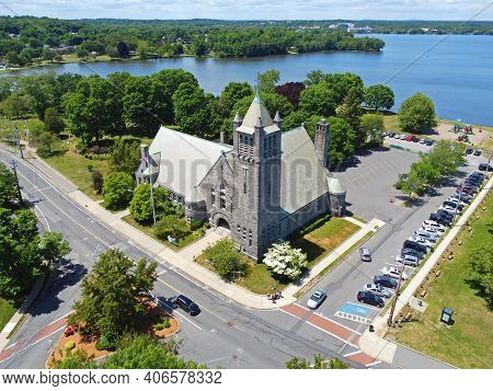 First Parish Congregational Church Aerial View At 1 Church Street In Historic Town Center Of Wakefie
