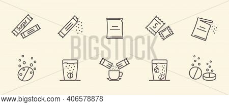 Packing Line Icons. Vector Illustration Included Icon As Sachet, Sugar Powder Packet, Soluble Pill,