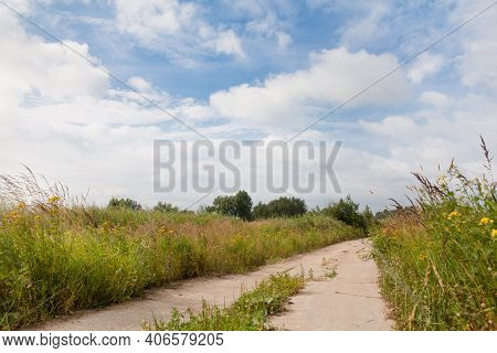 Old Concrete Road. Summer Landscape With An Abandoned Road. A Deserted Place On A Sunny Day.
