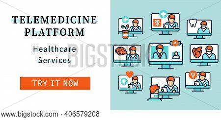 Telehealth Web Banner. Healthcare Organizations Platforms. Remote Healthy Check Landing, Web Page La