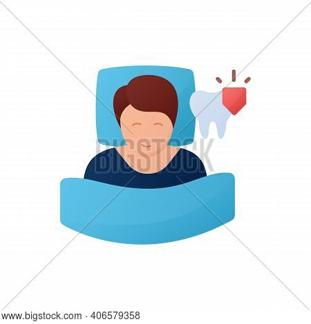 Dental Guard Flat Icon. Teeth Grinding Treatment. Sleep Disorder. Healthy Sleeping Concept. Sleep Pr