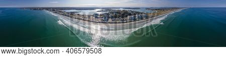 Nantasket Beach Aerial View Panorama In Town Of Hull In South Of Boston, Massachusetts Ma, Usa.