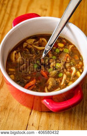 Italian Vegetable Soup In Crock Bowl With Handles