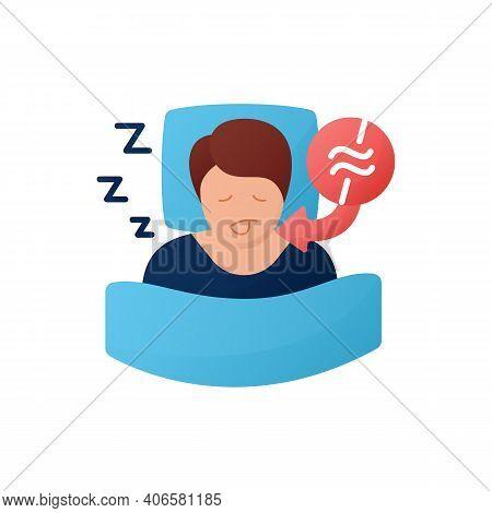 Apnea Color Flat. Sleep Disorder. Healthy Sleeping Concept. Sleep Problems Treatment. Breathing Trou