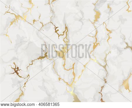 Marble With Golden Texture Background. Marbling Wallpaper Design For Invitations, Covers Vector Illu