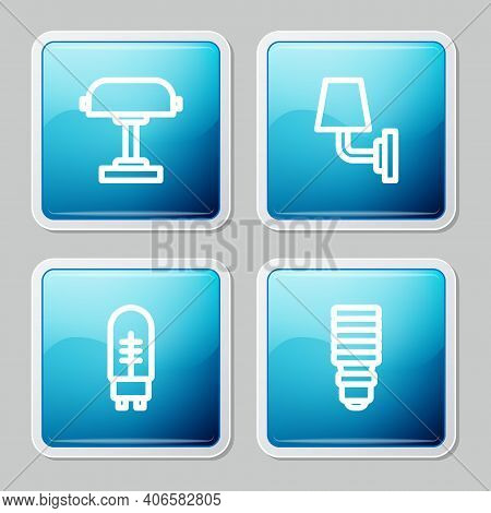 Set Line Table Lamp, Wall Or Sconce, Light Emitting Diode And Led Light Bulb Icon. Vector
