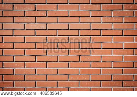 Red Brick Wall. Background Of A New Brick House. Perfect Brickwork. Great Construction Concept. Maso
