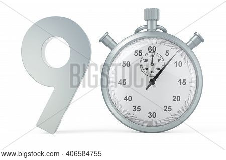 90 Number With Stopwatch. 3d Rendering Isolated On White Background