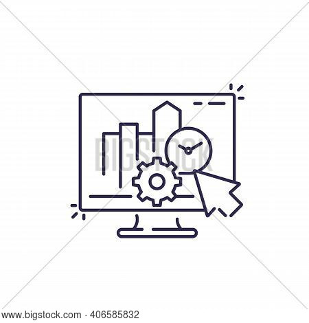 Productivity, Business Software Line Icon On White