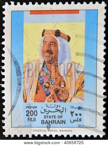 BAHRAIN - CIRCA 1990: A stamp printed in Bahrain shows amir Isa ibn Salman al-Khalifa circa 1990